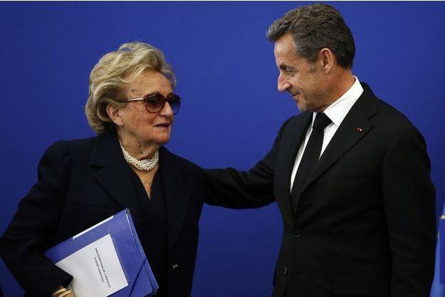 Bernadette Chirac et Nicolas Sarkozy, en mars dernier à l'inauguration de l'Institut Claude Pompidou.