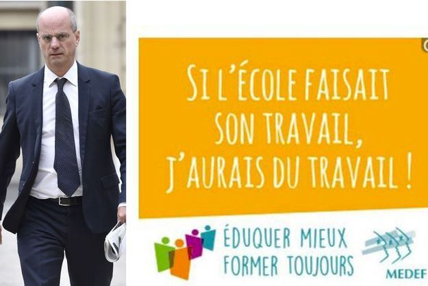 Jean-Michel Blanquer juge insultant le slogan du Medef (montage photo).