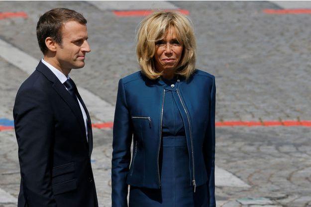 Emmanuel et Brigitte Macron après le défilé du 14 juillet, à Paris.