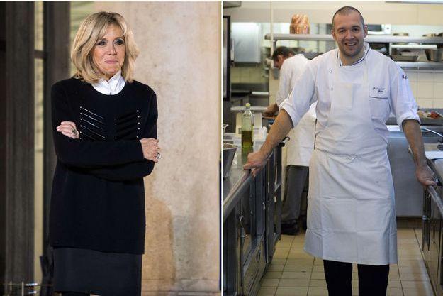 Guillaume Gomez dans les cuisines du palais présidentiel, fin octobre et Brigitte Macron, lundi sur le perron de l'Elysée.