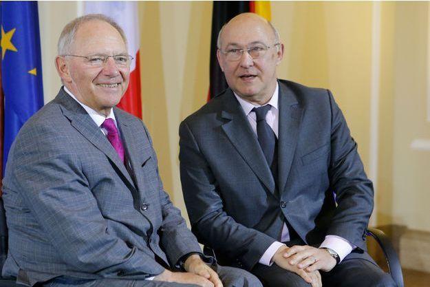 Le 7avril à Berlin, le ministre des Finances allemand, Wolfgang Schäuble (à g.) et son homologue français, Michel Sapin.