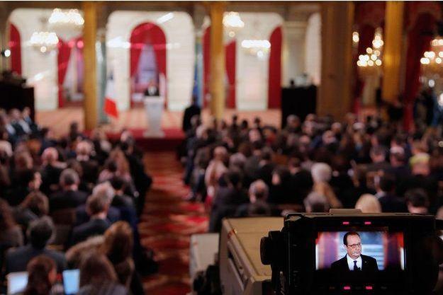 François Hollande lors de la conférence de presse à l'Elysée.