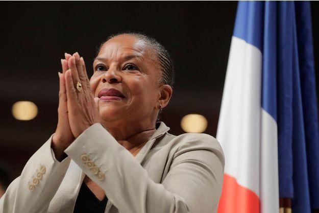 Christiane Taubira lors d'un meeting de Benoît Hamon avant le premier tour de l'élection présidentielle, en février dernier.