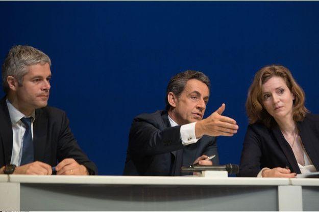Laurent Wauquiez, Nicolas Sarkozy et NKM le 7 février dernier, à la Mutualité.