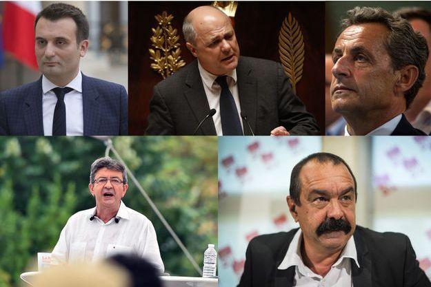 Florian Philippot, Bruno Le Roux, Nicolas Sarkozy, Jean-Luc Mélenchon et Philippe Martinez.