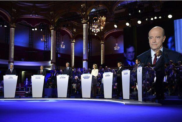 Durant le deuxième débat de la primaire de la droite, jeudi soir.