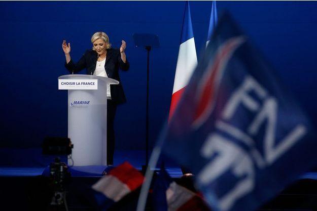Marine Le Pen, lors de son discours du 1er Mai à Villepinte.