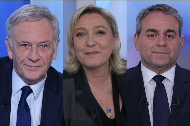 Pierre de Saintignon, candidat PS, Marine Le Pen, candidate FN et Xavier Bertrand, candidat des Républicains.
