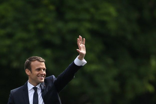 Emmanuel Macron lors de son investiture le dimanche 14 mai 2017.