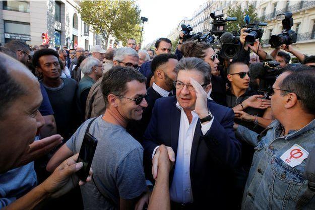 Jean-Luc Mélenchon pendant la manifestation contre la loi travail, le 1é septembre, à Marseille.
