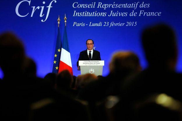 François Hollande lundi soir au dîner du Crif.
