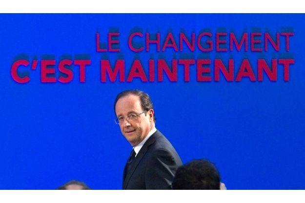 François Hollande lors de la présentation de son programme, ce jeudi, à la Maison des Métallos de Paris.