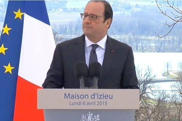 François Hollande lors de son discours à Izieu, le 6 avril 2015.
