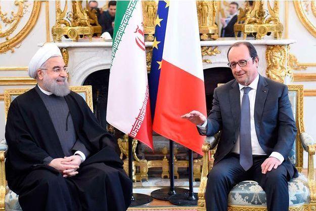 François Hollande et le président iranien Rohani à l'Elysée, le 28 janvier 2016.