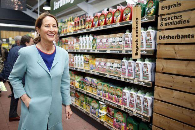 Ségolène Royal en juin dernier, lors d'une visite dans une jardinerie sur le thème de l'interdiction du désherbant Roundup.