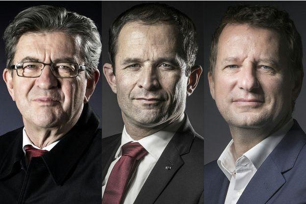 Jean-Luc Mélenchon, Benoît Hamon et Yannick Jadot