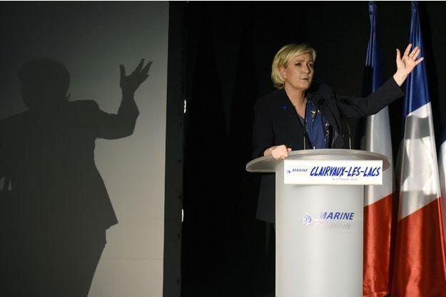 Marine Le Pen en meeting à Clairvaux-les-Lacs dans le Jura le 17 février.