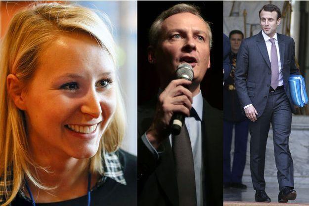 Marion Maréchal-Le Pen, Bruno Le Maire et Emmanuel Macron.