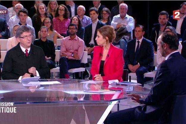 Jean-Luc Mélenchon, Léa Salamé et Edouard Philippe, jeudi soir sur France 2.