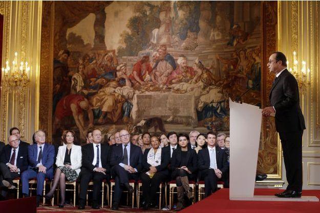 François Hollande s'exprime, jeudi, à l'Elysée.