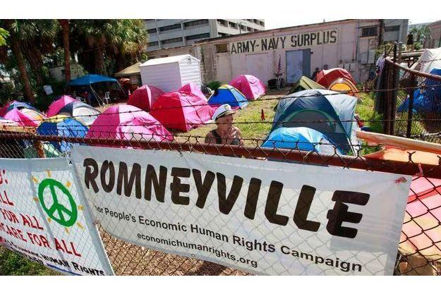 """""""Romneyville"""", le rassemblement parallèle de Tampa."""