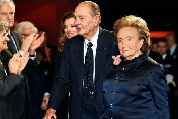 21 novembre 2013, au musée du Quai-Branly,  Jacques et Bernadette Chirac lors de la remise du prix de la Fondation Jacques Chirac pour la prévention des conflits. Photo Dominique Jacovides