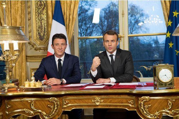 Benjamin Griveaux et Emmanuel Macron à l'Elysée samedi.