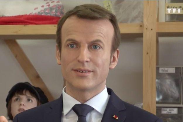 La statue de cire d'Emmanuel Macron.