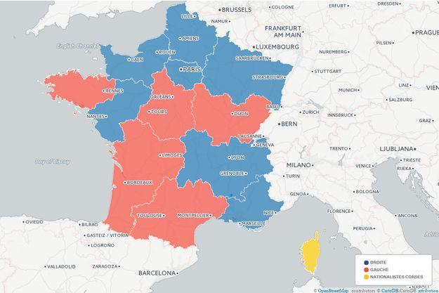 La carte des résultats du second tour des régionales.