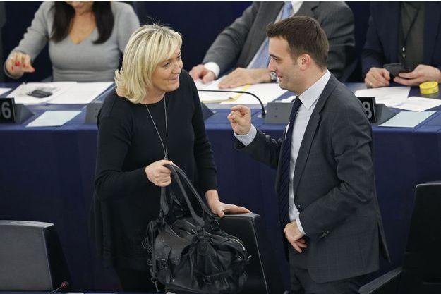 Marine Le Pen et Florian Philippot au Parlement européen, le 28 avril dernier.