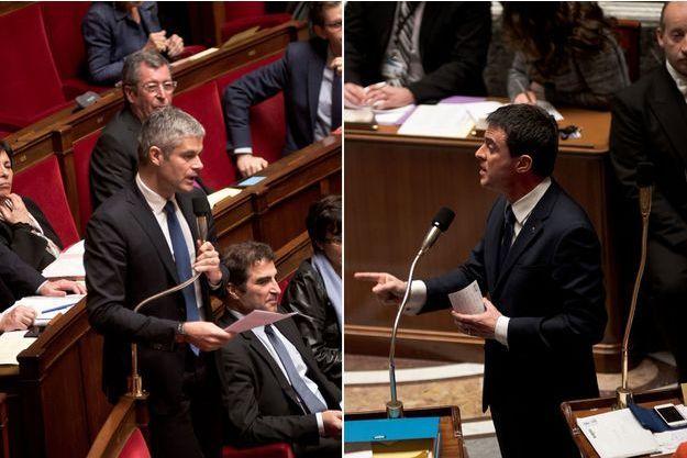 Laurent Wauquiez et Manuel Valls à l'Assemblée nationale, le 21 janvier 2015.