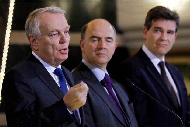 Jean-Marc Ayrault, Pierre Moscovici et Arnaud Montebourg: les trois acteurs de la polémique sur Dailymotion.
