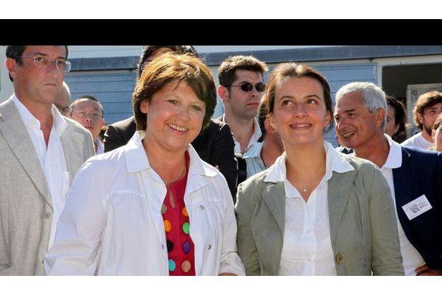 Martine Aubry, la première secrétaire du PS, et Cécile Duflot, la secrétaire nationale des Verts (de g. à dr.).