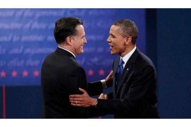 Mitt Romney et Barack Obama, avant le troisième et dernier débat.