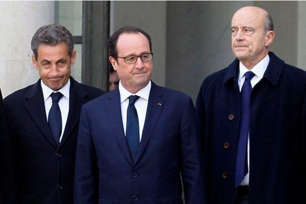 Nicolas Sarkozy, François Hollande et Alain Juppé, ensemble le 11 janvier 2015, pour la grande manifestation contre le terrorisme.