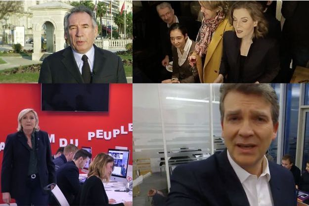 Les vidéos de voeux de François Bayrou, Nathalie Kosciusko-Morizet, Marine Le Pen et Arnaud Montebourg.