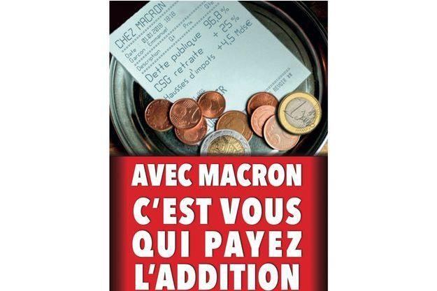"""Le tract de LR avec une parodie de ticket de restaurant de l'établissement """"Chez Macron"""""""