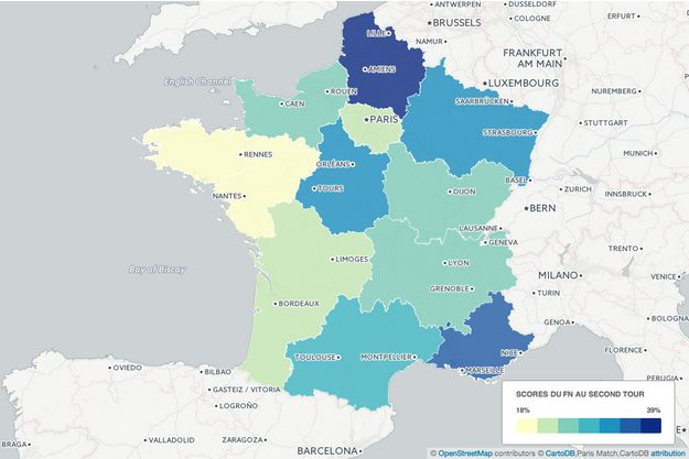 En Nord-Pas de Calais-Picardie et en Provence-Alpes-Côte d'Azur, le Front national réalise ses meilleurs scores au second tour. Découvrez ci-dessous la carte interactive.