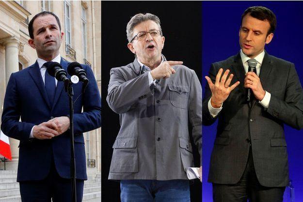 Benoît Hamon, Jean-Luc Mélenchon et Emmanuel Macron.