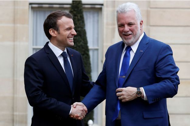 Emmanuel Macron et le Premier ministre québécois Philippe Couillard, à l'Elysée lundi.