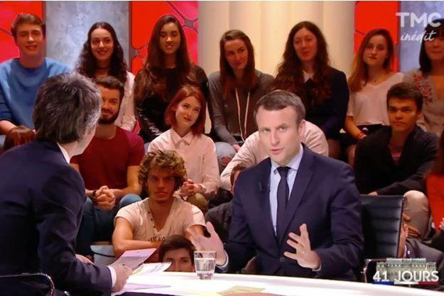 """Emmanuel Macron, lundi soir invité de """"Quotidien"""" sur TMC."""
