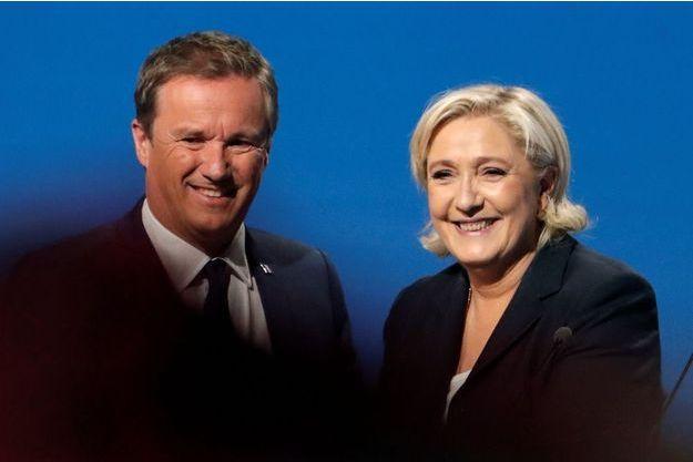 Marine Le Pen et Nicolas Dupont-Aignan, en mai 2017 pendant l'entre-deux tours de la présidentielle.