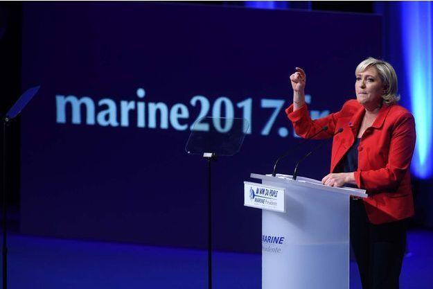 Marine Le Pen lors de son meeting du 17 avril à Paris.