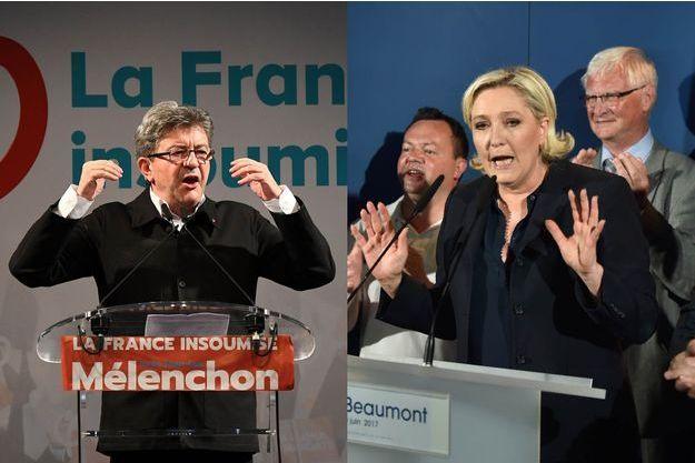 Jean-Luc Mélenchon et Marine Le Pen (montage)