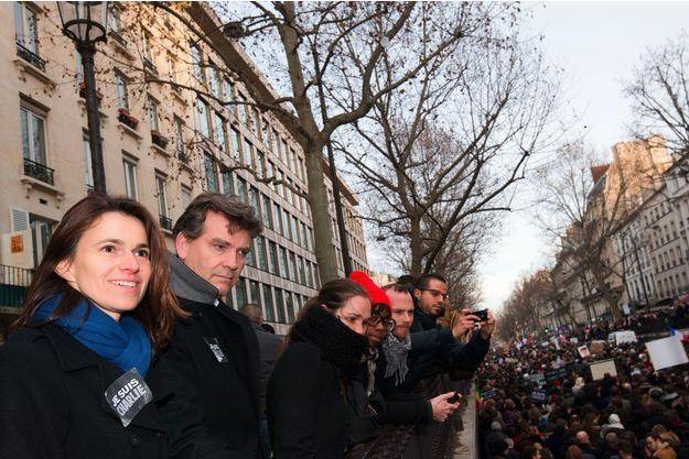 Aurélie Filippetti et Arnaud Montebourg le 11 janvier dernier, lors de la manifestation contre le terrorisme.
