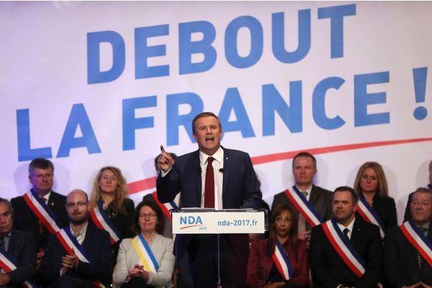 Nicolas Dupont-Aignan en meeting à Paris le 9 mars dernier.
