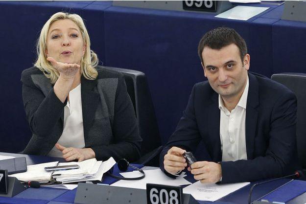 Marine Le Pen et Florian Philippot au Parlement européen, le 11 mars.