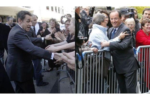 Nicolas Sarkozy à Nice, vendredi dernier, et François Hollande à Tulle, dimanche.