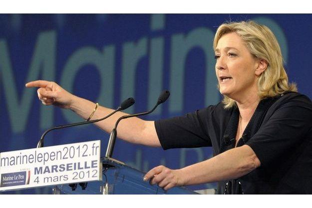 Marine Le Pen, le 4 mars, à Marseille.