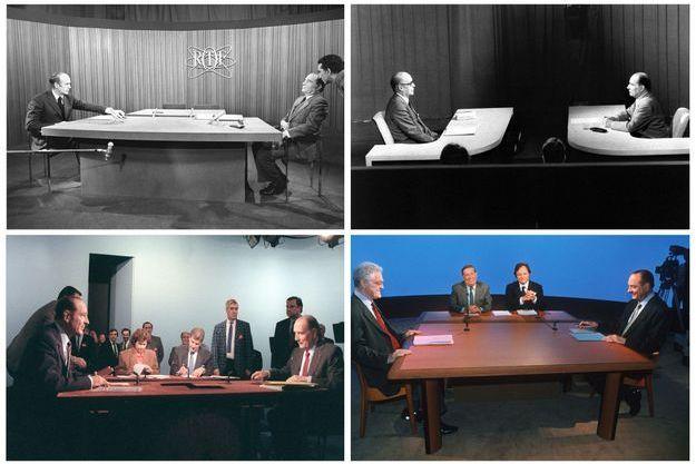 Les quatre premiers débats présidentiels télévisés de la Ve République. De gauche à droite et de haut en bas : Giscard-Mitterrand en 1974 puis 1981, Chirac-Mitterrand en 1988 et Chirac-Jospin en 1995.